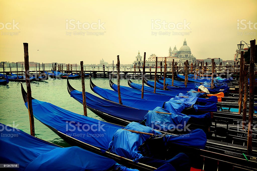 gondolas moored at the grand canal royalty-free stock photo