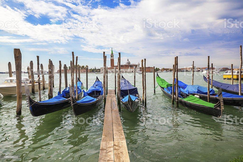 Gondolas moored by Saint Mark squar royalty-free stock photo
