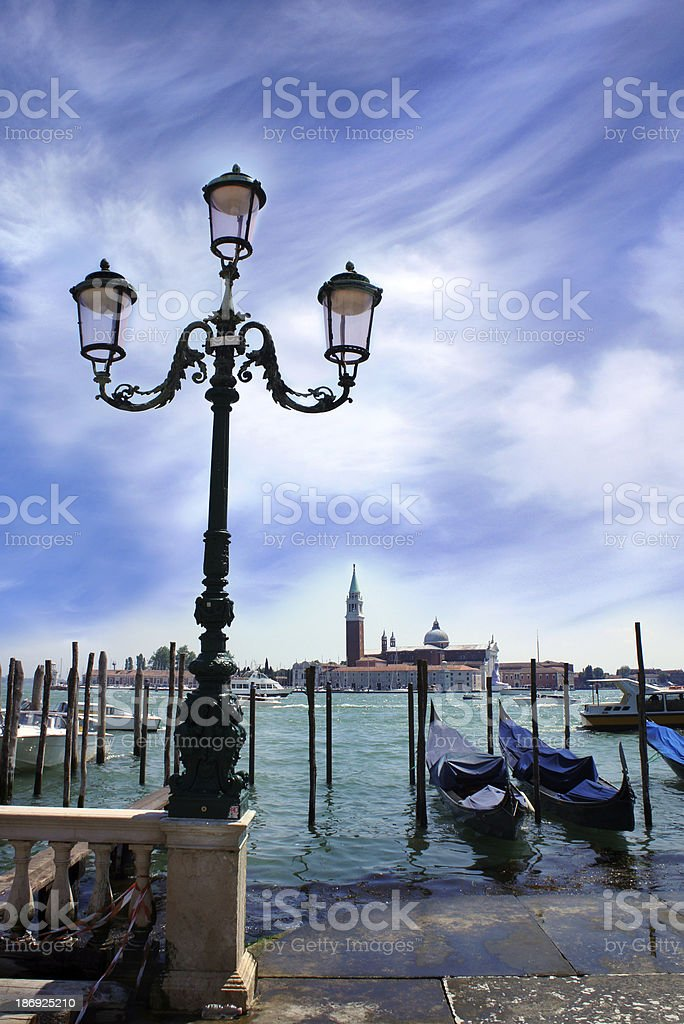 Gondolas moored by Saint Mark square, Venice, Italy royalty-free stock photo