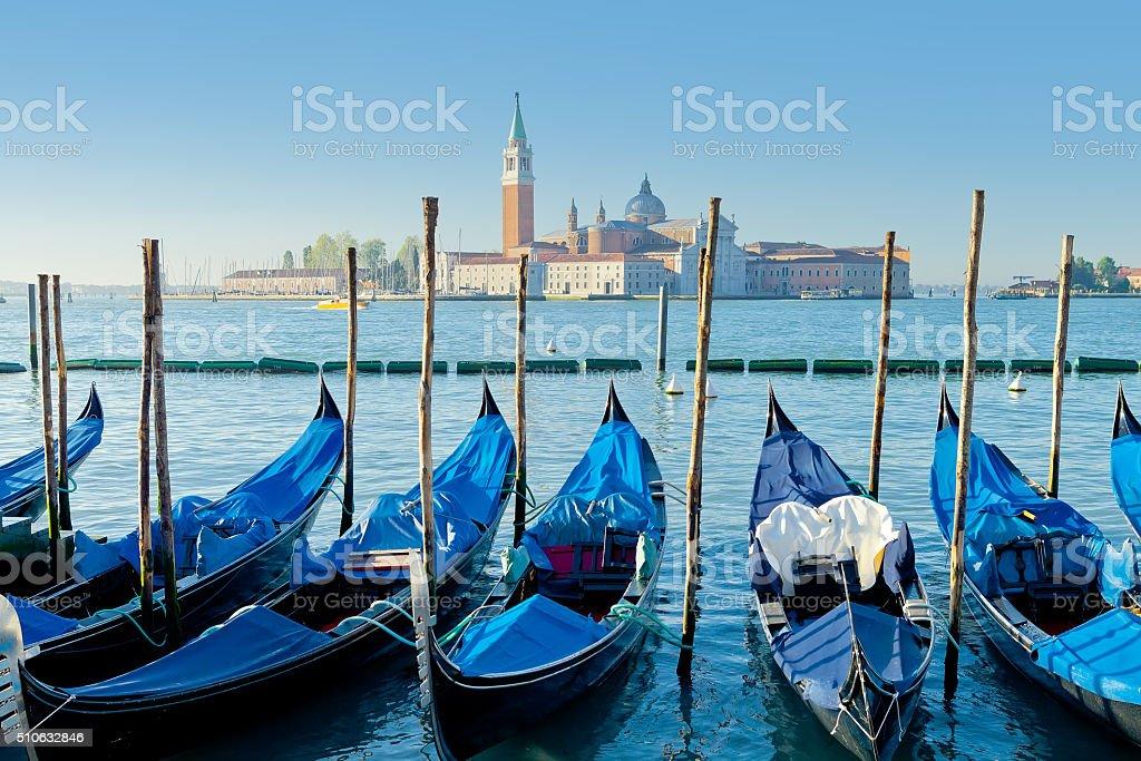 Gondolas moored by St. Mark's Square. Venice, Italy stock photo