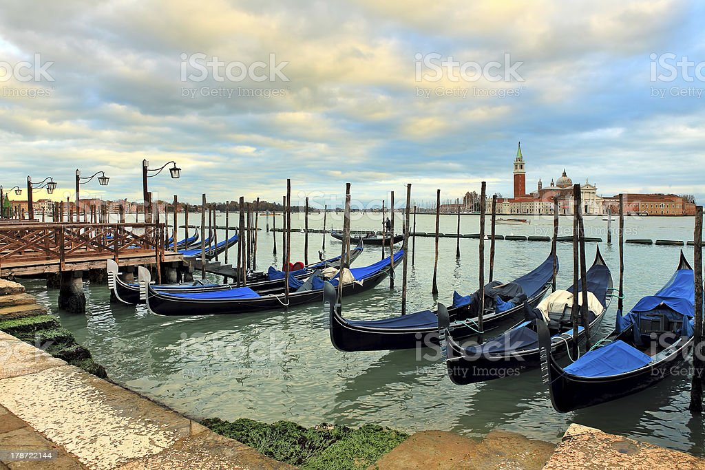 Gondolas moored on Grand canal in Venice. royalty-free stock photo