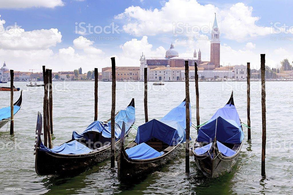 Gondolas near Doge's Palace, Venice stock photo