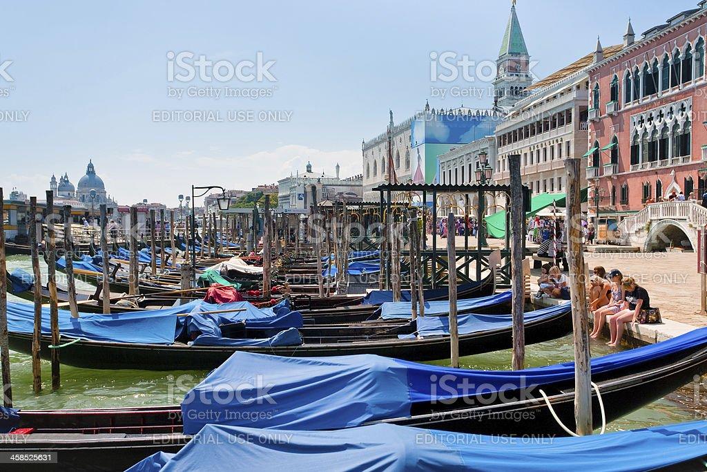 gondolas near Piazza San Marco in Venice royalty-free stock photo
