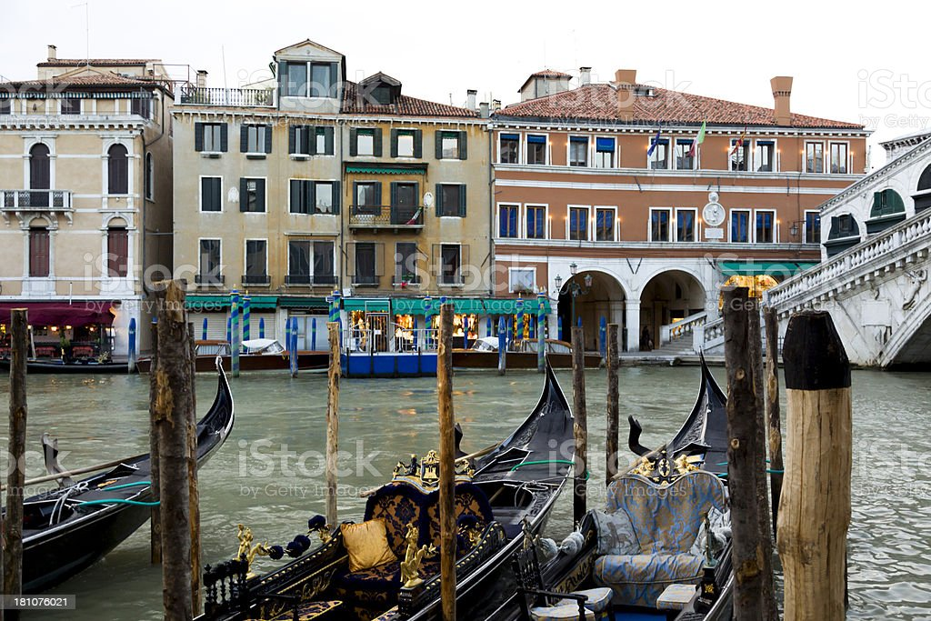 Gondolas near Rialto bridge royalty-free stock photo