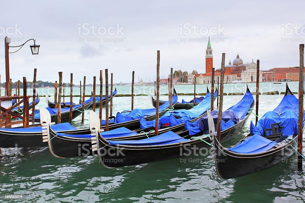 Gondolas near Saint Mark square royalty-free stock photo