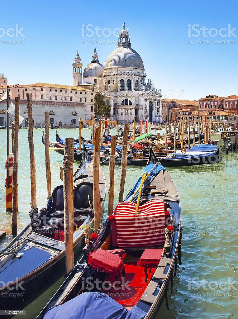 Gondolas on Canal Grande in Venice, Italy stock photo