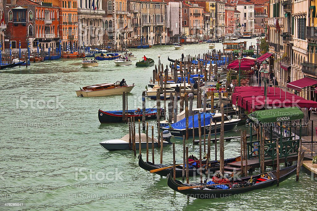 Gondolas on Grand Canal in Venice, Italy. royalty-free stock photo