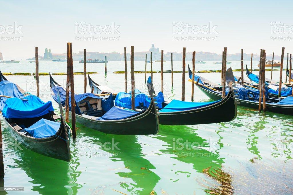 Gondolas on Grand canal in Venice, Italy. stock photo