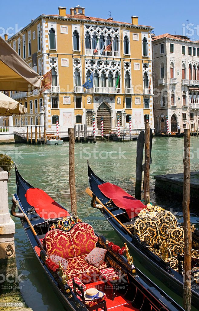 Gondolas on Grand Canal in Venice royalty-free stock photo