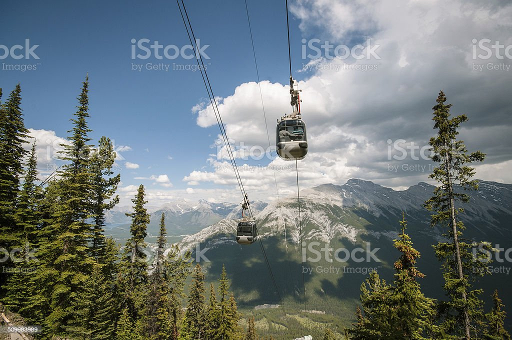 Gondolas on mountain stock photo