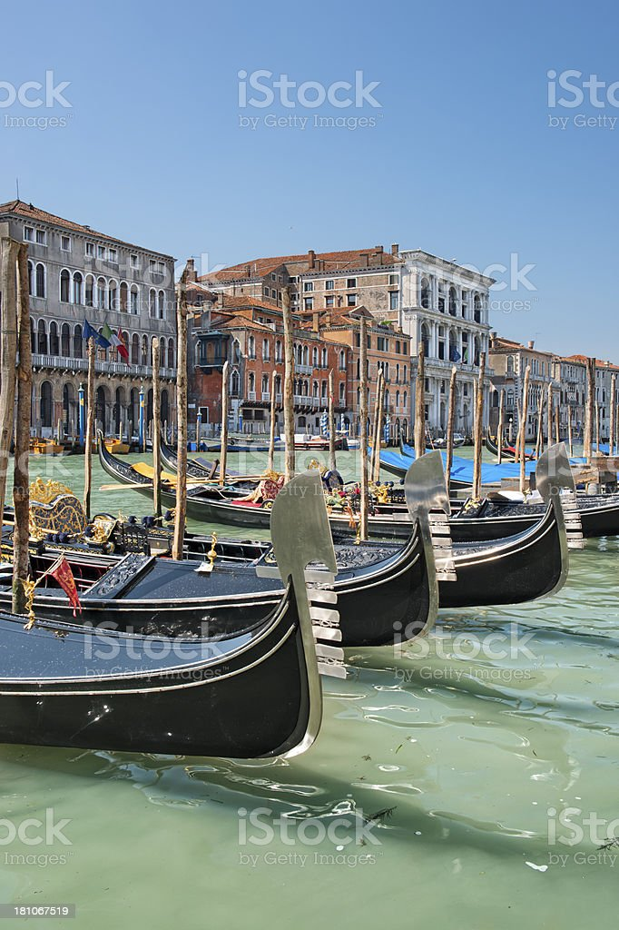 Gondolas on the Gran Canal (Venice) royalty-free stock photo