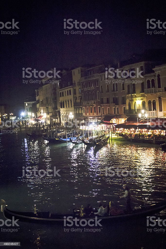 Gondolas on the Grand Canal at Night royalty-free stock photo