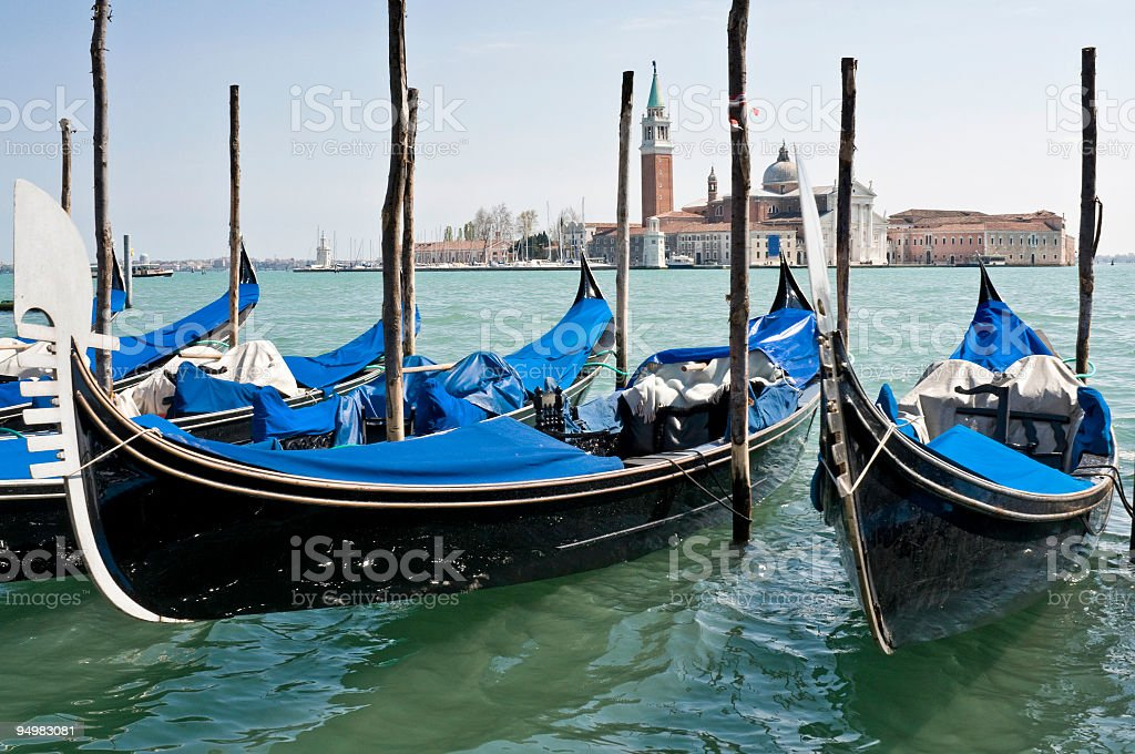 Gondolas on the lagoon Venice royalty-free stock photo
