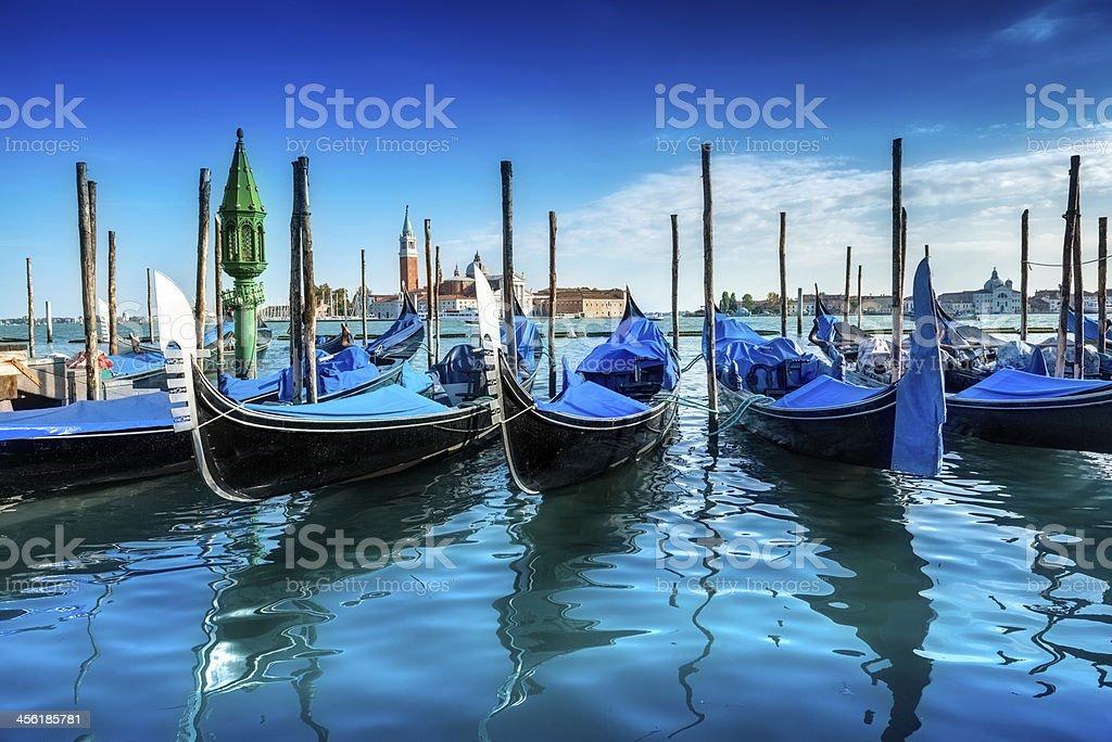 Gondolas on the Venetian Lagoon, Italy royalty-free stock photo