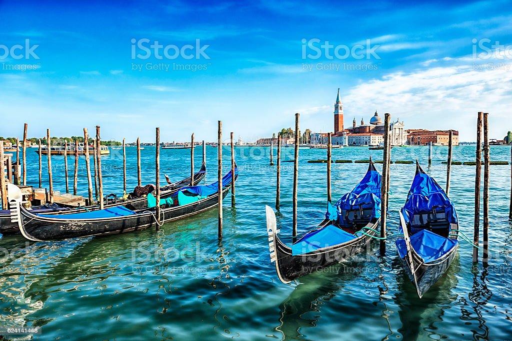 Gondolas on the Venetian Lagoon, Italy stock photo