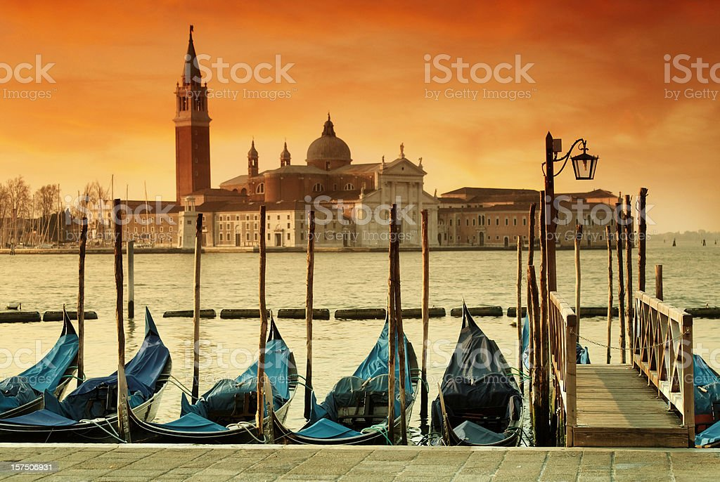 Gondolas on the Venetian Lagoon royalty-free stock photo