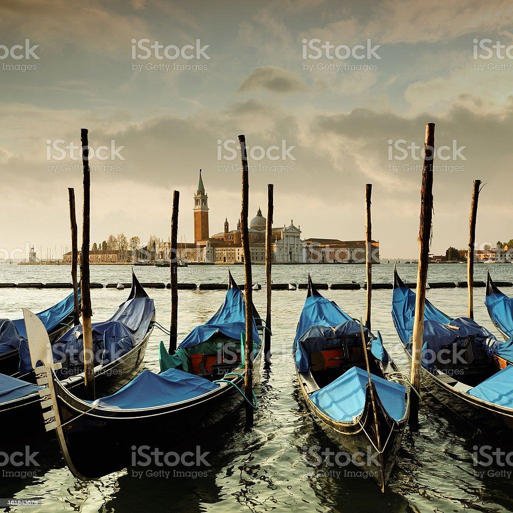 Gondolas on the Venetian Lagoon royalty-free stock photo
