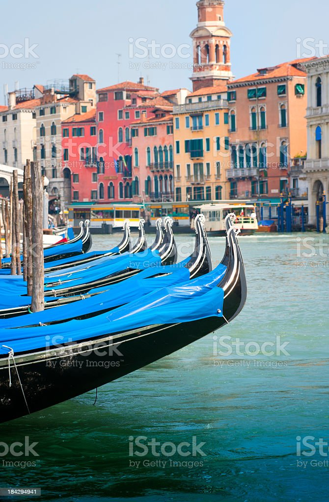 Gondolas parked in the Grand Canal of Venice royalty-free stock photo