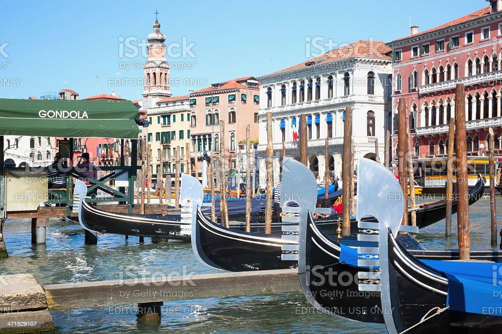 Gondolas ready for tourists in Venice Italy royalty-free stock photo