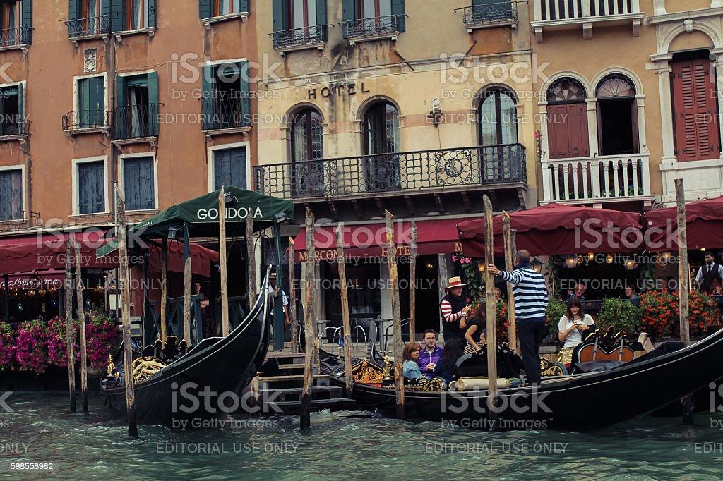 gondolas sailing down stock photo