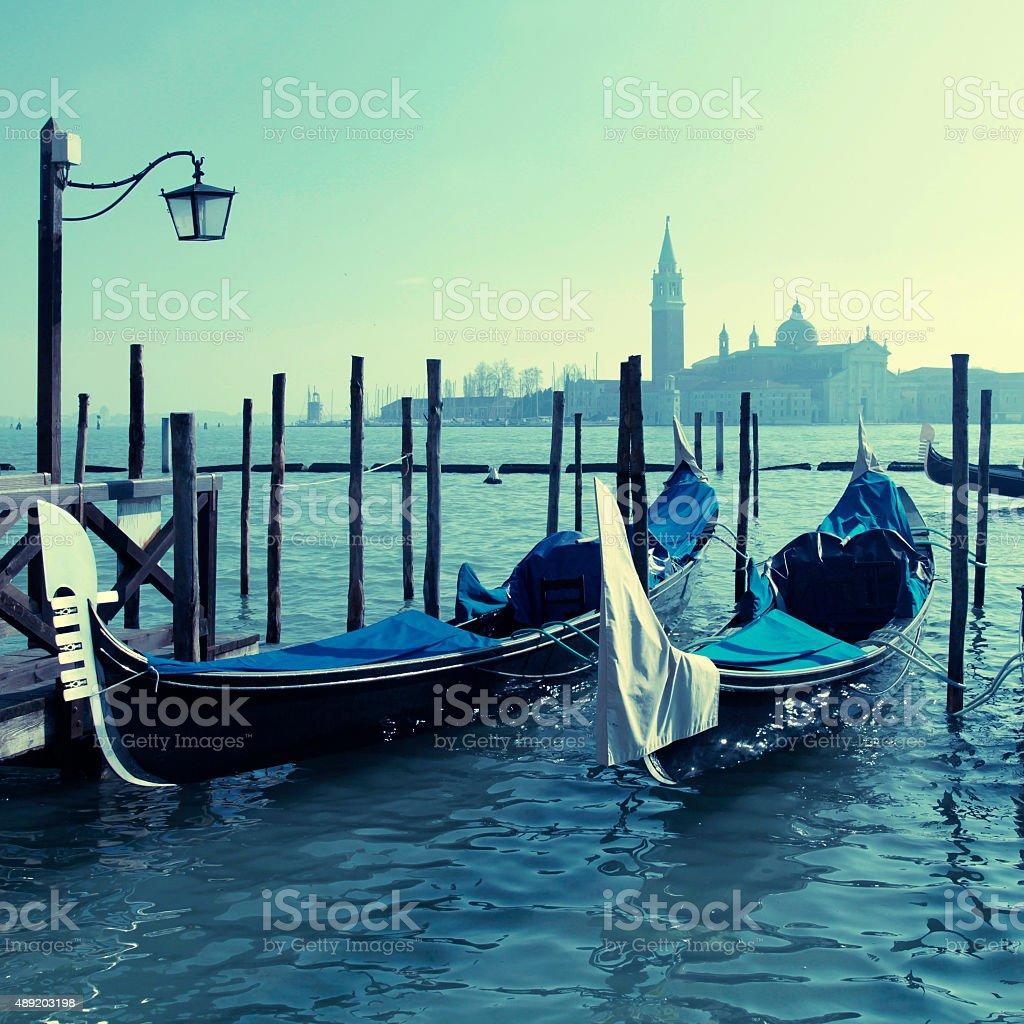 Gondolas, Saint Mark square,Venice, Italy stock photo