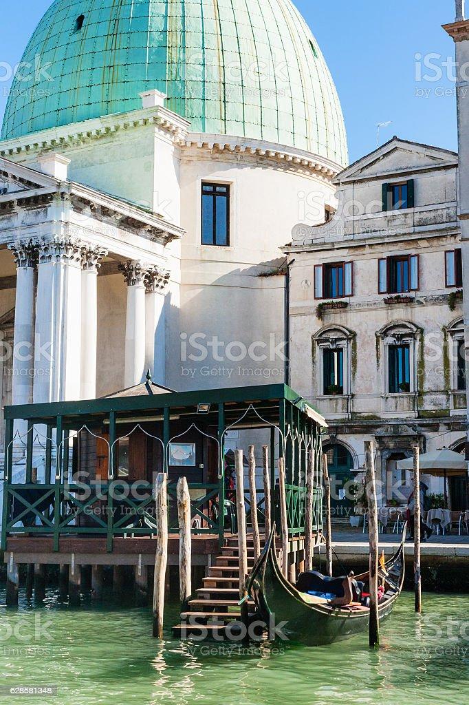 gondolas stop near Church San Simeone Piccolo stock photo