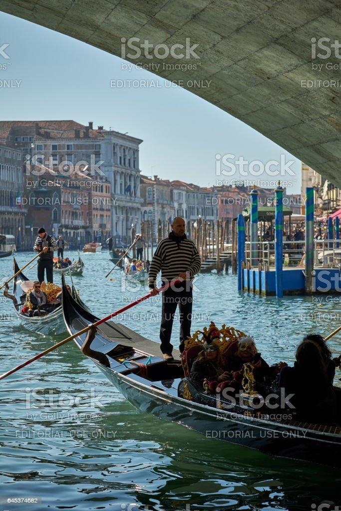 Gondolas, tourists on Carnival days stock photo