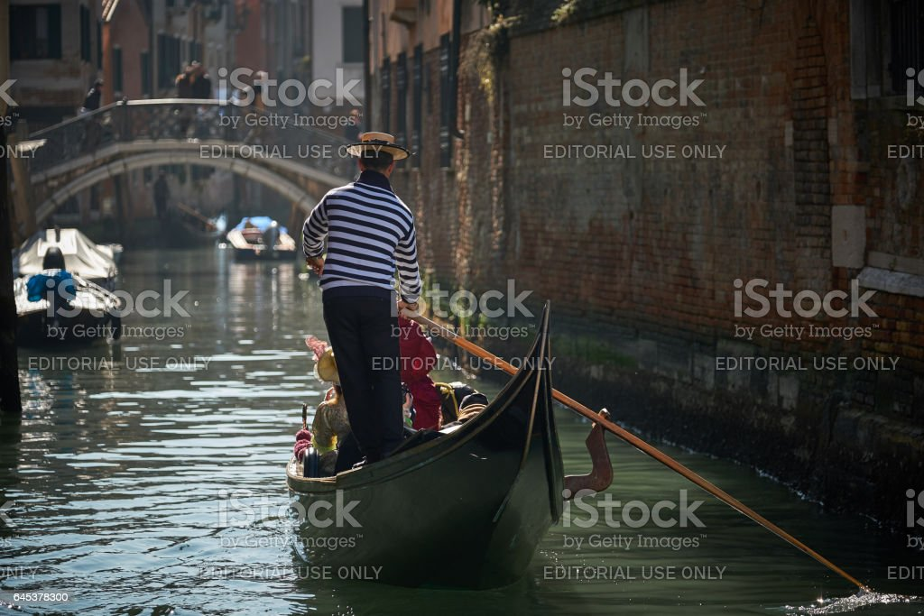 Gondolas, tourists on Carnival days stock photo