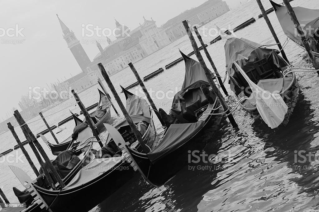 Gondolas - Venice, Italy monochrome stock photo
