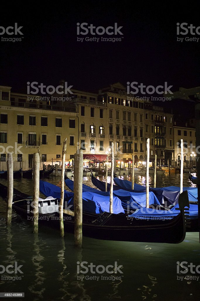 Gondolas Waiting on the Grand Canal at Night royalty-free stock photo
