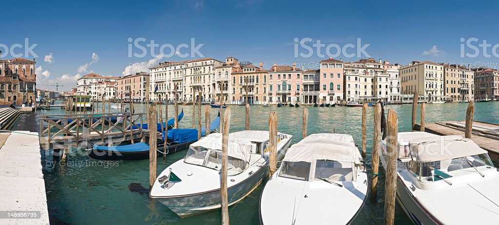 Gondolas water taxis Grand Canal Venice royalty-free stock photo