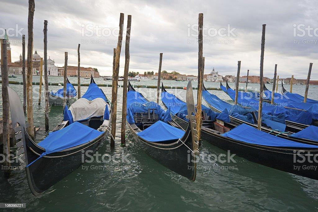 Gondole in San Marco basin, Venice, Italy royalty-free stock photo