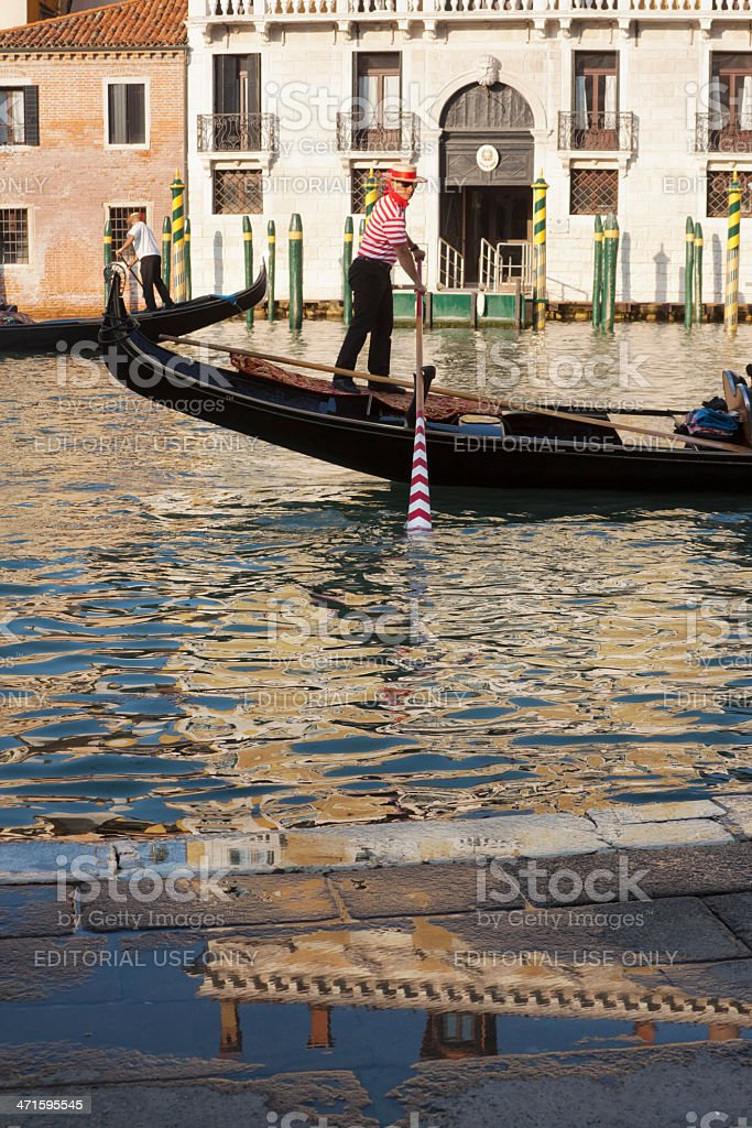 Gondolier in Gran Canal royalty-free stock photo