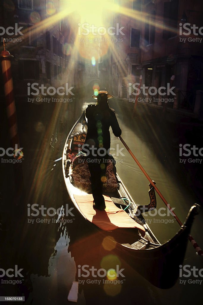 gondolier in venice royalty-free stock photo