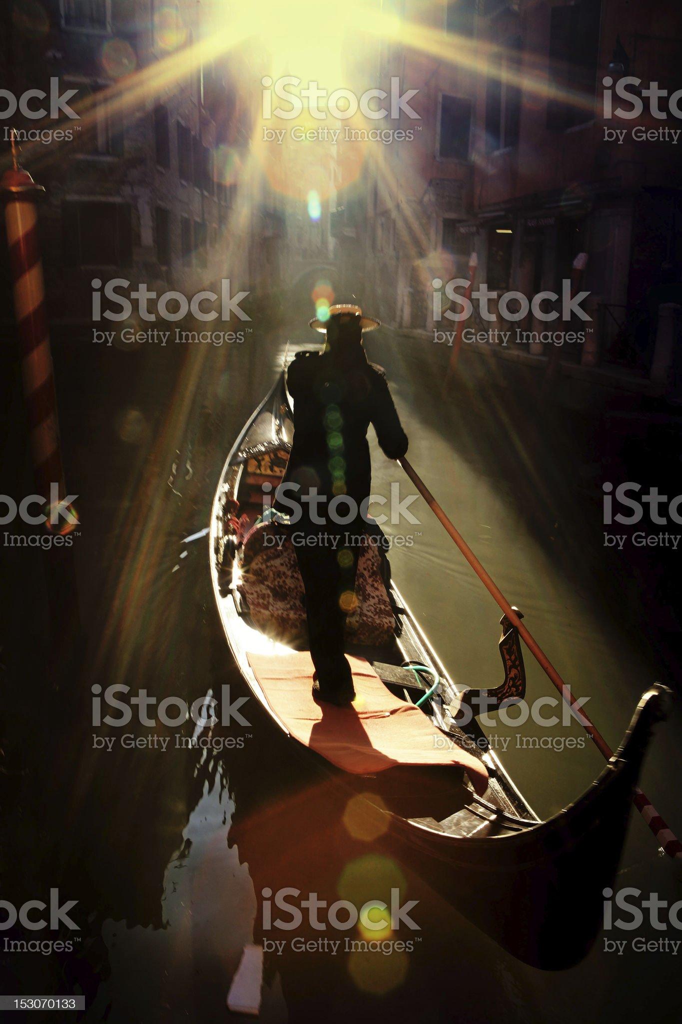 gondolier in venice royalty-free stock photo