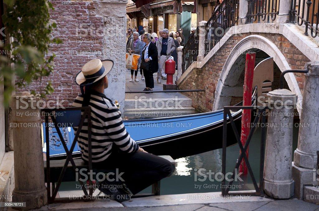 Gondolier in Venice stock photo