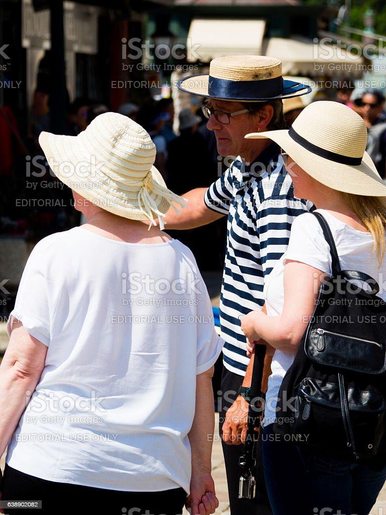 Gondolier Talking stock photo