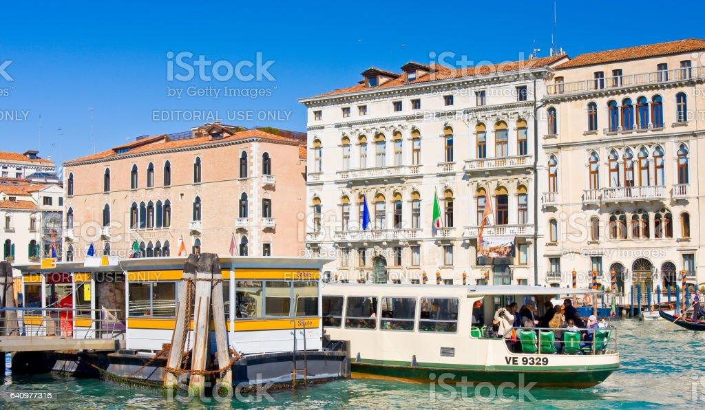 Gondols on Grand Canal in Venice stock photo