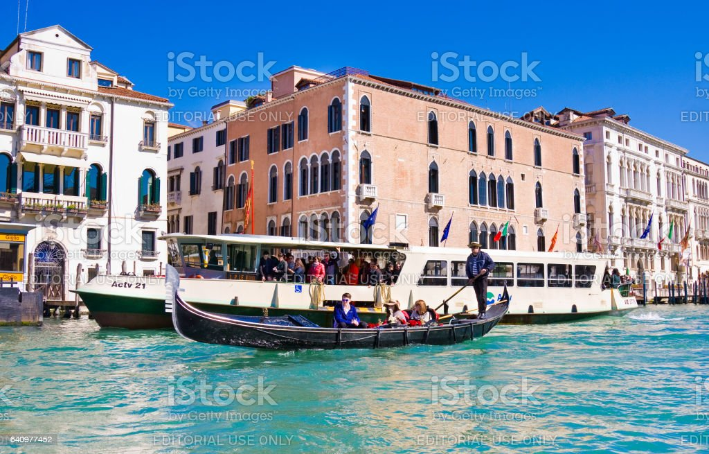 Gondols on Grand Canal in Venice stock photo