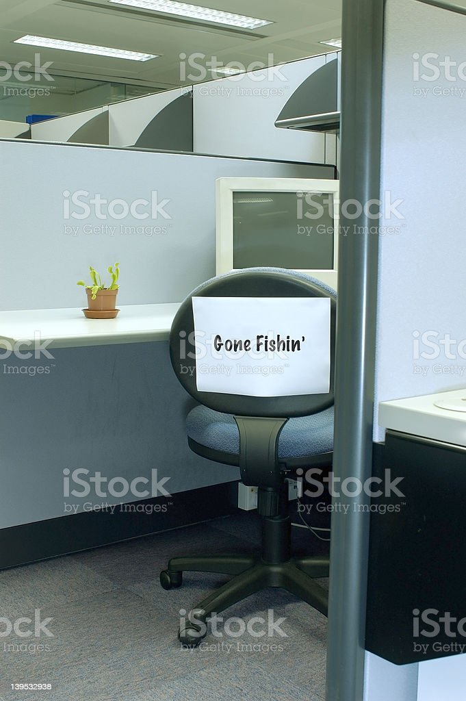 Gone fishing 2 - office series royalty-free stock photo
