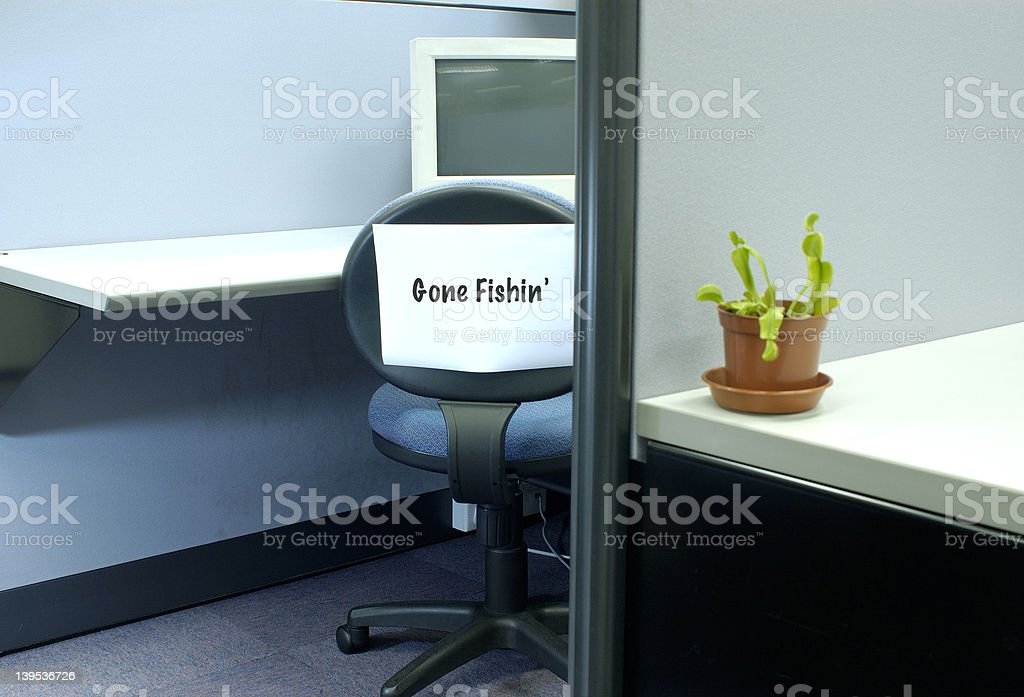 Gone fishing 3 - office series royalty-free stock photo