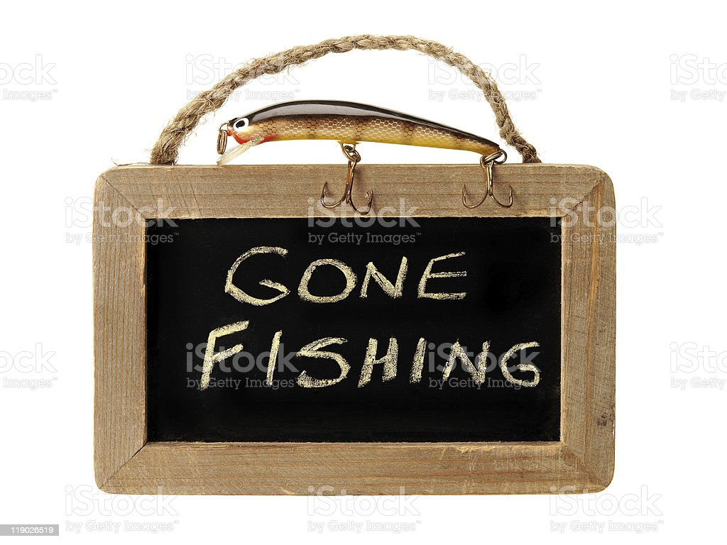 Gone fishing on blackboard royalty-free stock photo