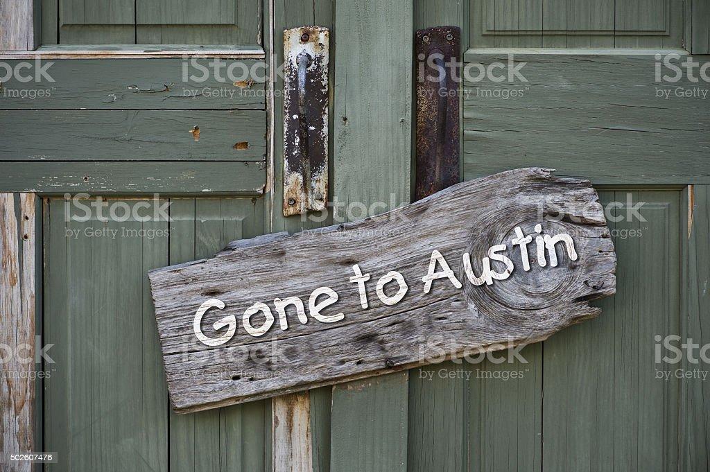 Gone to Austin. stock photo
