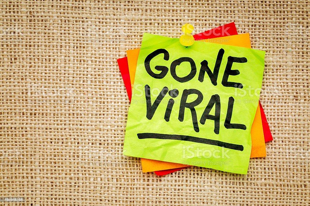 Gone viral - sticky note stock photo