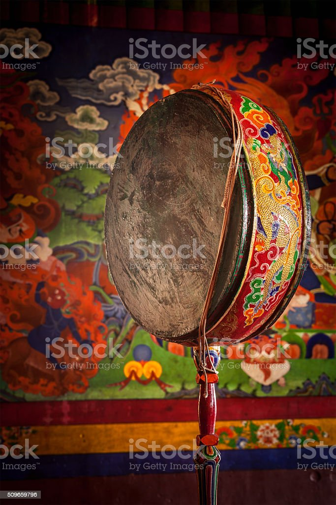 Gong drum in Spituk monastery. Ladadkh, India stock photo