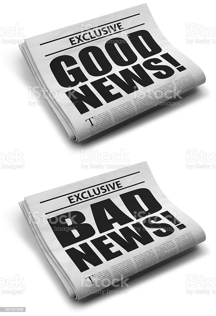 Good and bad news stock photo
