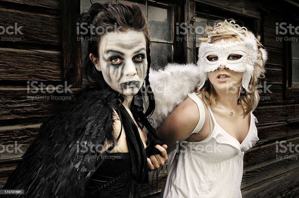 Good and Evil Angels royalty-free stock photo