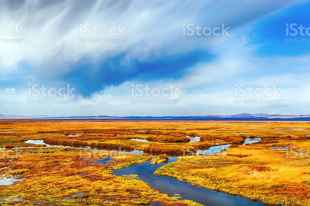 Good Autumn Landscape in ArxanShan stock photo