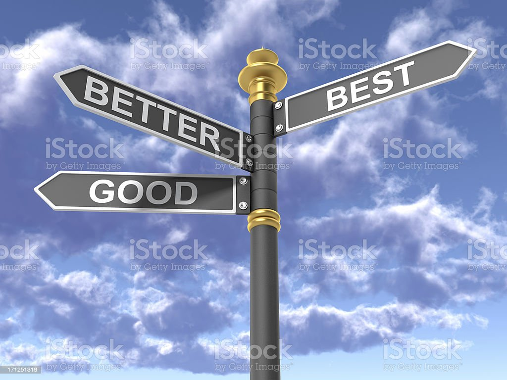Good Better  Best Directional Sign royalty-free stock photo