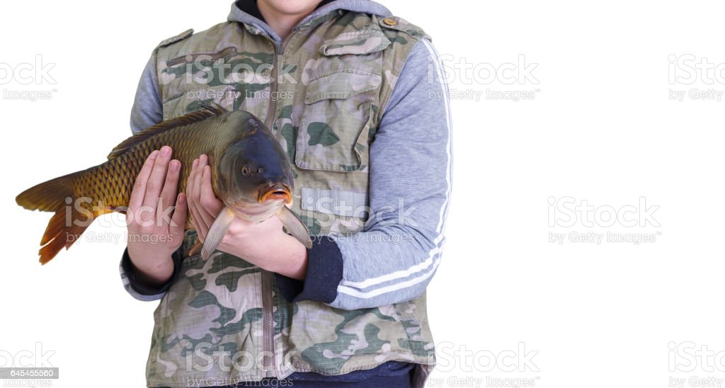 Good catch on the fishing. stock photo